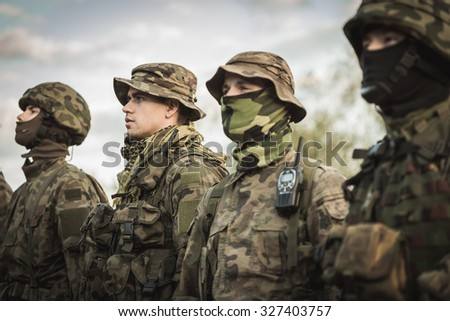 Group of soldiers during army basic training