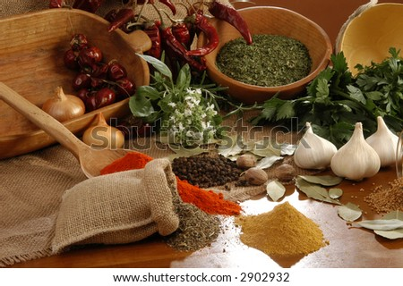 Group of spices on a brown background