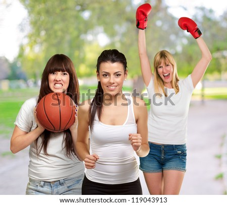 Group Of Sporty Woman, Outdoor