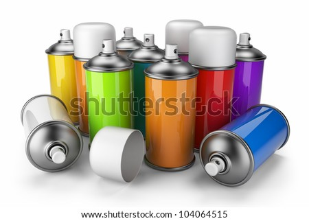 Group of spray can. 3D icon isolated on white background