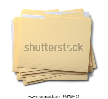 Group of Stacked Files Top View Isolated on White Background. #696789433