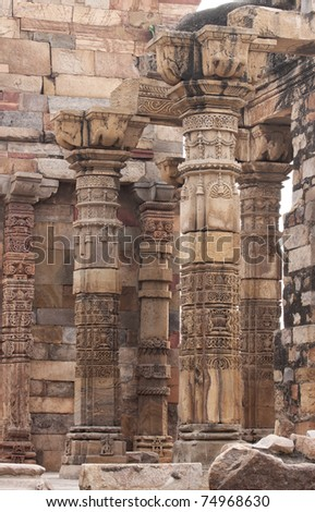 Group of standing columns and pillars at Qut'b Minar in Delhi.