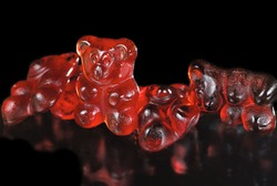 Group of sticky red gummy bears