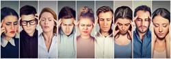 Group of stressed people having headache