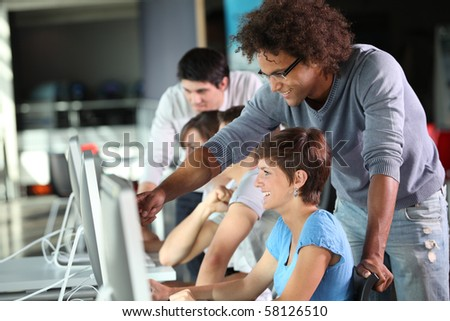 Group of student in business training - stock photo
