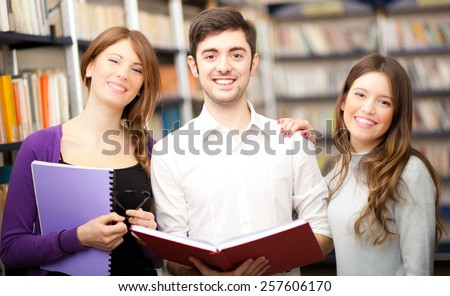 Group of Students at work in a Library