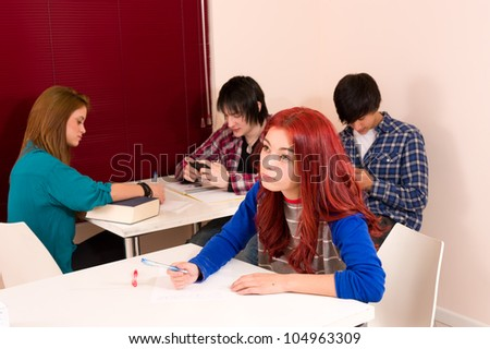 Group of students doing anything but learn - stock photo