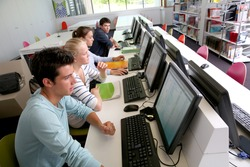 Group of students in computers room