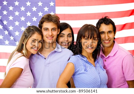 Group of students learning English as a foreign language with the American flag on the background