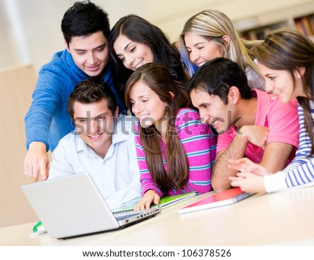 Group of students online on a laptop computer