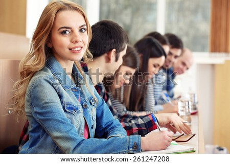 Group of students sitting in classroom