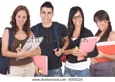 Group of students standing with books and bags - over a white background