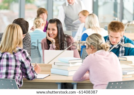 Group of students study in classroom at high school