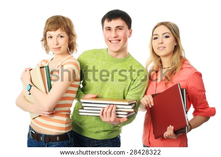 Group of students. Theme: education, friends, relations.