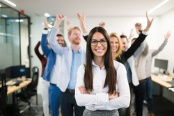 Group of successful business people happy in office
