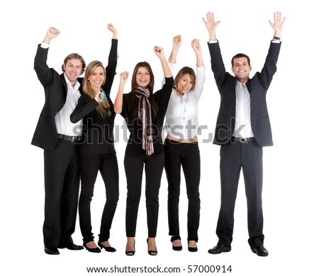 Group of successful business people isolated over a white background