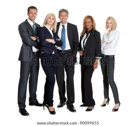 Group of successful business people standing together on white background