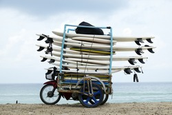 Group of surfboard in motorcycle sidecar prepare for surfers at Karon beach, Phuket, Thailand