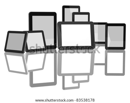 Group of Tablet Computers on white background