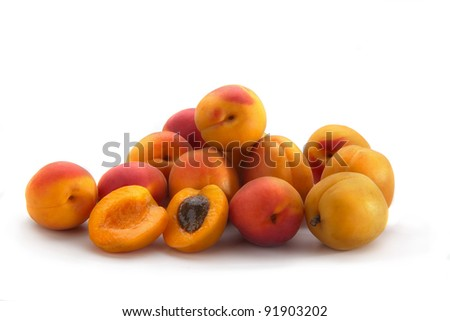 Group of tasty fresh apricots
