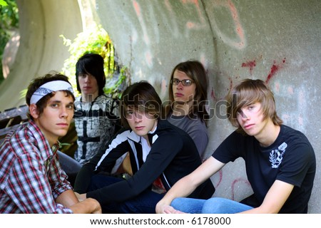 group of teen boys hanging out