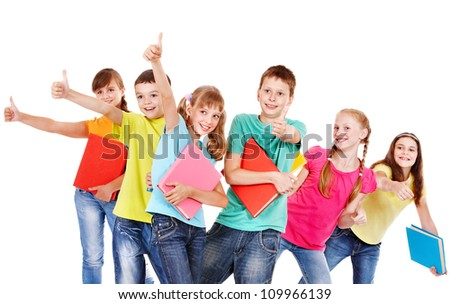 Group of teen school child.  Isolated.