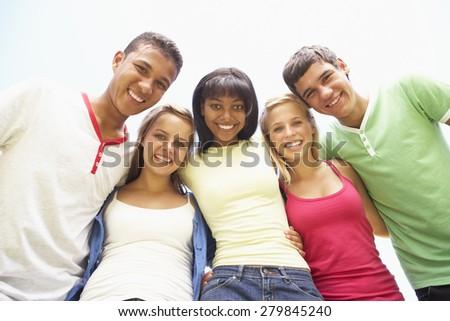 Group Of Teenage Friends Having Fun In Park #279845240
