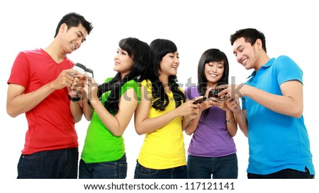 Group of Teenager Friends playing with phone