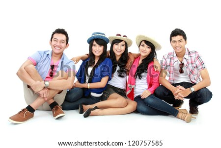 Group of Teenager Friends sitting together and look at camera