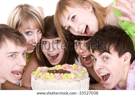 Group of teenagers celebrate birthday. Isolated.