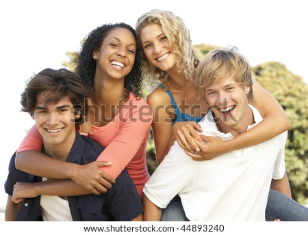 Group Of Teenagers Having Fun