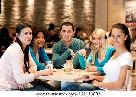 Group of teenagers in cafe, students leisure activities leisure activities
