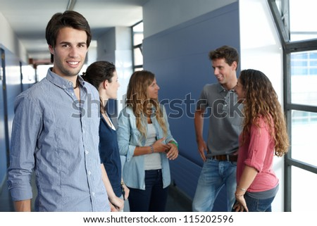 Group of teenagers in university
