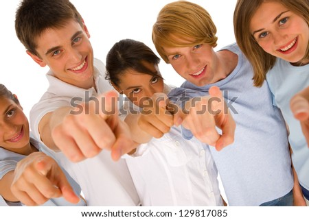 group of teenagers pointing