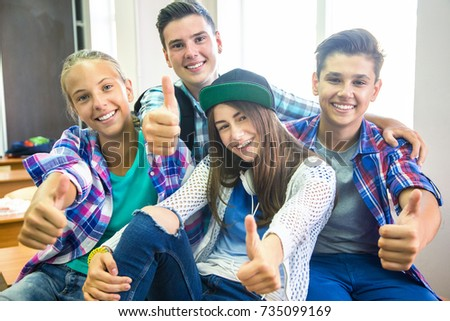 group of teenagers showing gesture OK #735099169