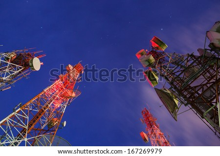 Group of Telecommunication towers at night