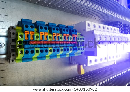 group of terminal connections and group of protective automatic switches.  #1489150982