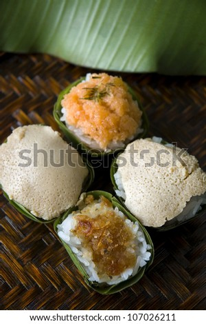 group of Thai dessert sweet sticky rice with topping