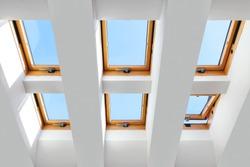 group of the six skylights windows. Large, luxury skylights.