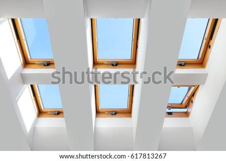 group of the six skylights windows. Large, luxury skylights. #617813267