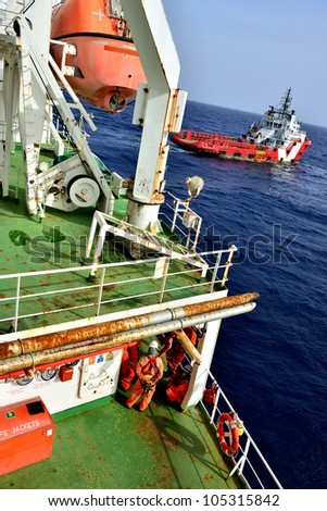Group of the workers are waiting at offshore oil rig for supply boat in the gulf of thailand.