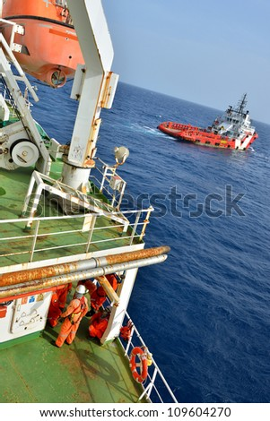 Group of the workers are waiting at oil rig platform for supply boat in the gulf of thailand.