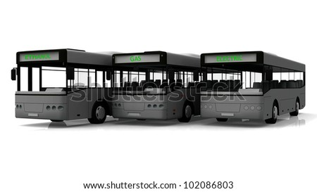 Group of three city buses