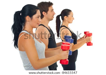 Group of three people doing fitness exercises with barbell against white background
