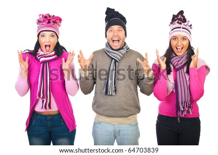 Group of three people standing in a row,wearing woolen clothes and shouting together isolated on white background