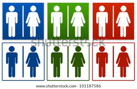 Group of  Toilet Sign Isolated on White