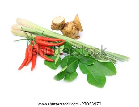 Group of tomyum (Thai food) seasoning ingredients isolated on white background