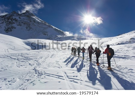 Group of touring skiers, the Alps, Valle d'Aosta, Italy