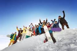 Group of tourists having fun at ski and snowboard resort Sheregesh. Siberia, Russia