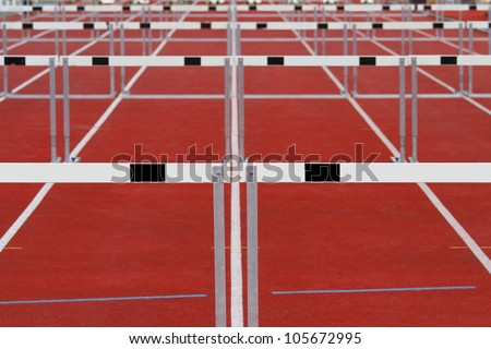 Group of track and field hurdles